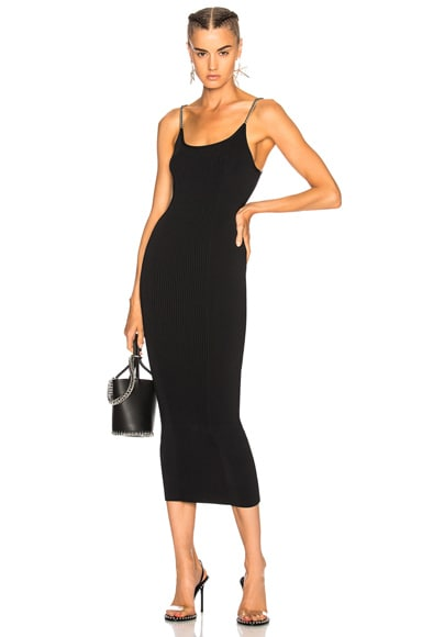 Ribbed Tank Dress with Chain Straps