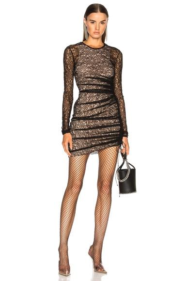 Asymmetric Lace Mini Dress