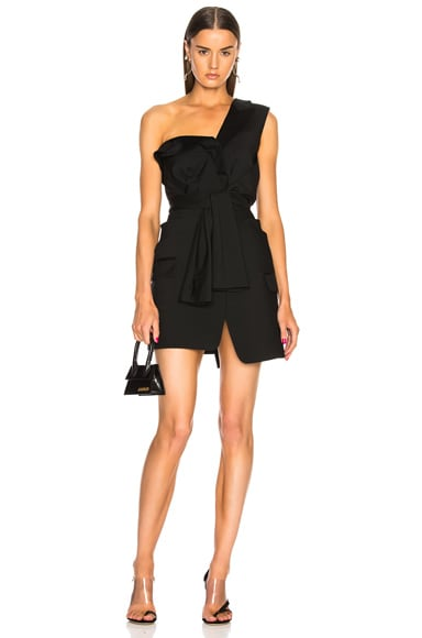 Deconstructed Tie Front Tuxedo Dress