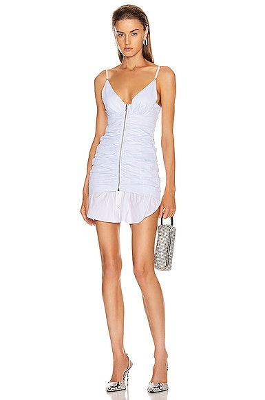 Ruched Front Zipper Cami Dress
