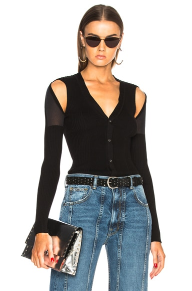 Shoulder Slit Rib Cardigan