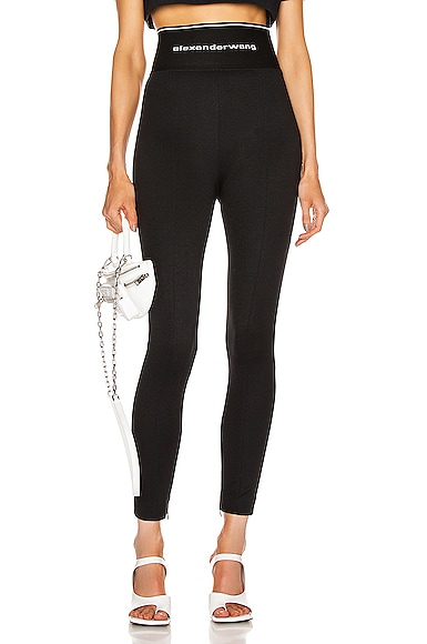 Logo Elastic Zipper Legging