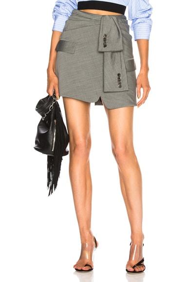 Asymmetric Tie Front Skirt