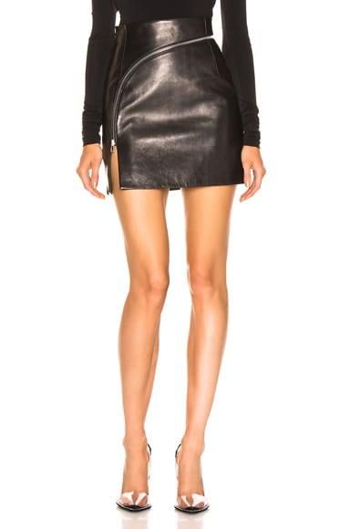 Leather Zip Detail Mini Skirt