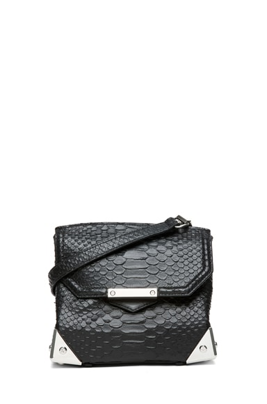 Marion Python Embossed Shoulder Bag with Rhodium