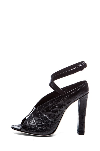 Clara Croc Embossed Leather Heels