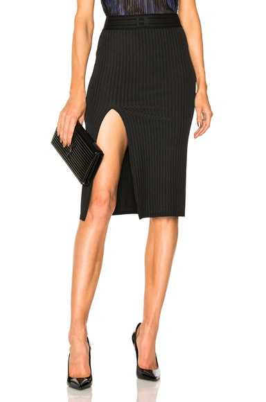 Wide Rib Jersey Slit Skirt