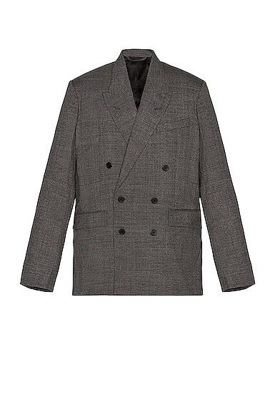 Balenciaga Men's Double Breasted Houndstooth Jacket In Black & White