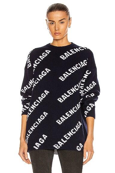 Balenciaga Sweaters LONG SLEEVE LOGO CREWNECK SWEATER