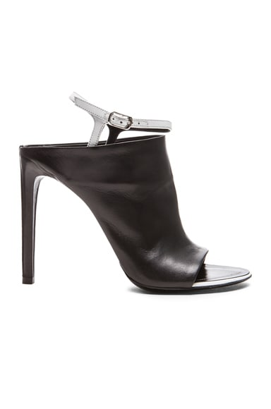 Open Toe Lambskin Leather Sandals with Contrast Ankle Strap