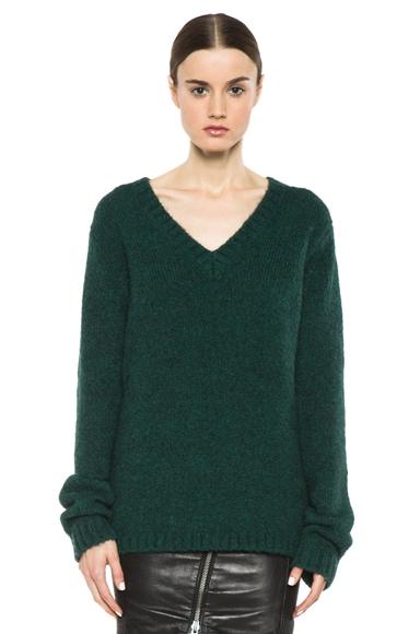 Loose Fit Nylon-Blend V-Neck Sweater