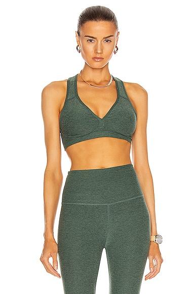 Beyond Yoga Spacedye Lift Your Spirit Bra in Green