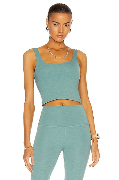 Beyond Yoga Heather Rib Keep It Simple Cropped Tank in Turquoise