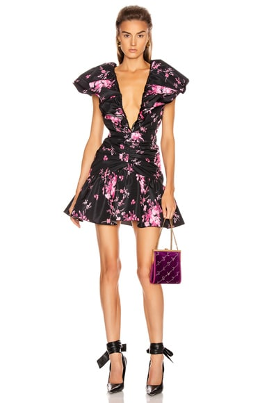 Taffeta Floral Print Mini Dress