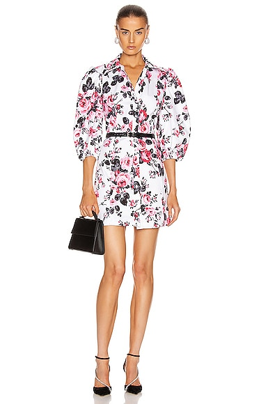 Brognano BROGNANO FLORAL BUTTON DOWN MINI DRESS IN FLORAL,PINK,WHITE