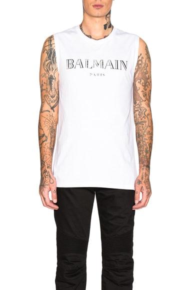 Balmain Mirror Silver Paris Tank Top