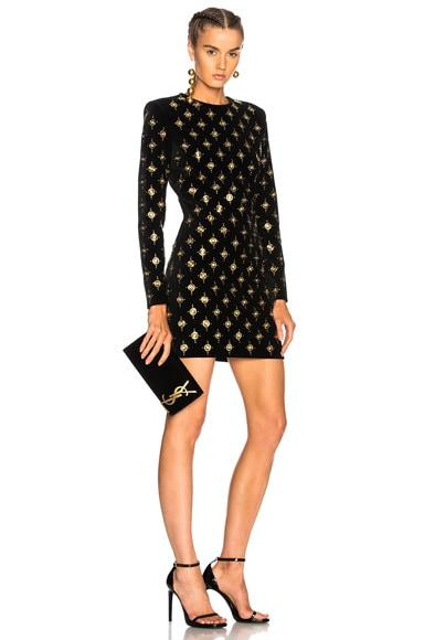 Embellished Velvet Mini Dress