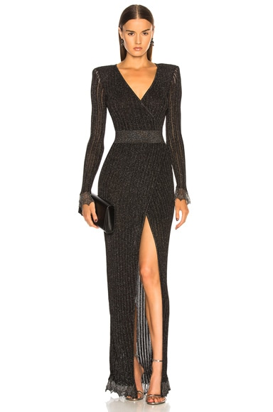 Lurex Rib Knit Maxi Wrap Dress