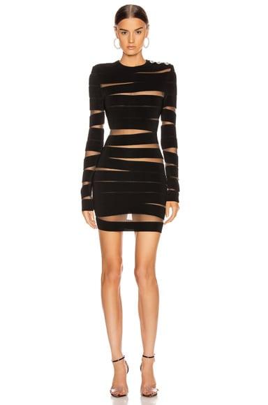 Long Sleeve Open Knit Mini Dress