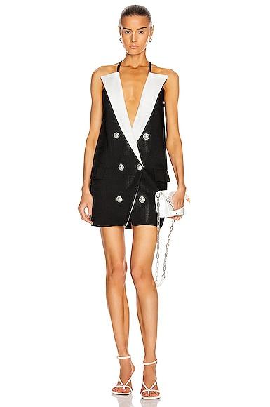 6 Button Peak Lapel Knit Dress
