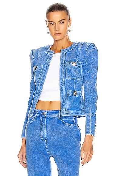Collarless Acid Wash Denim Jacket
