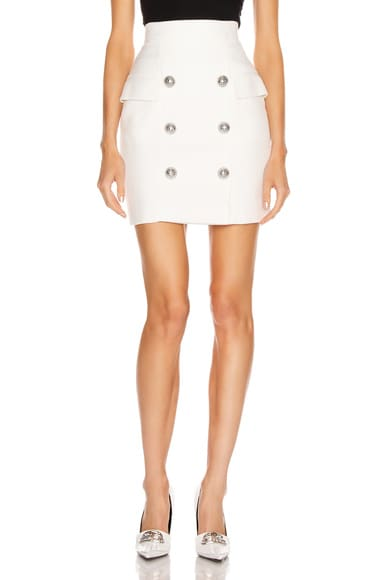 High Waisted Button Mini Skirt