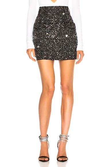 Side Pocket Embellished Mini Skirt