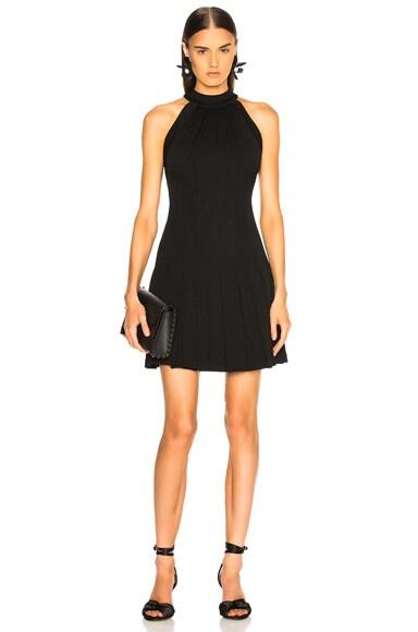Pebble Crepe Halter Pleated Mini Dress