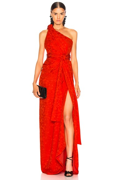 Satin Jacquard One Shoulder Twist Front Gown