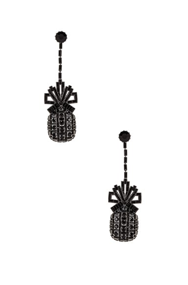 Metal & Swarovski Pineapple Drop Earrings