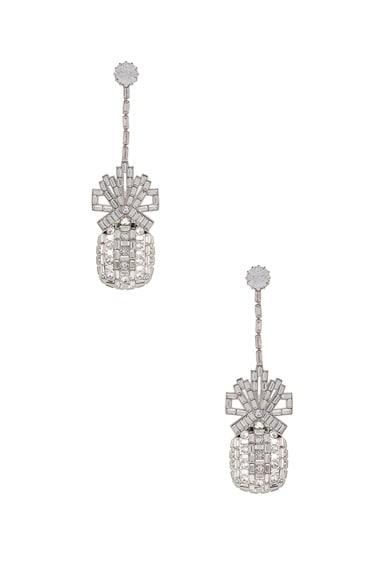 Metal & Swarovski Pineapple Drop Earrings
