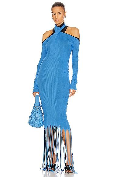 Bottega Veneta Rib Fringe Cold Shoulder Dress In Swimming Pool & Black
