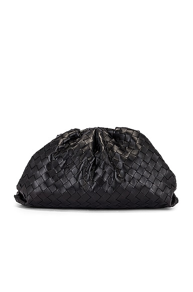 Leather Woven Pouch Clutch
