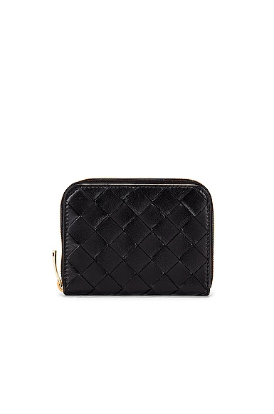 Leather Woven Zip Around Wallet