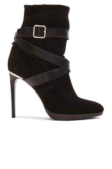 Cadey Strap Suede & Sheep Shearling Booties