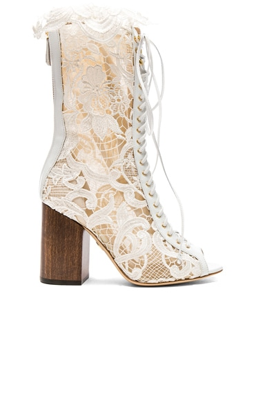 for FWRD Exclusive Lace Open Toe Lali Boots
