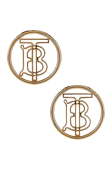 Large Outline Clip Earrings by Burberry