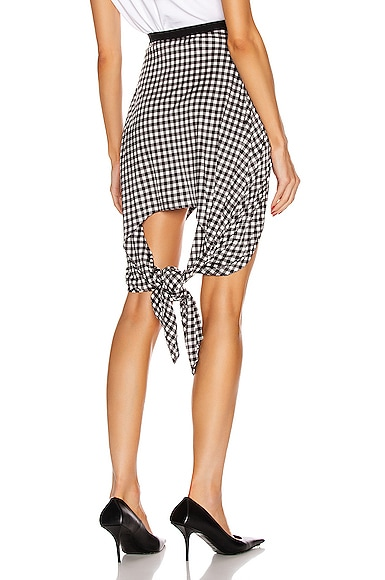 Gingham Mini Skirt With Knot Detail