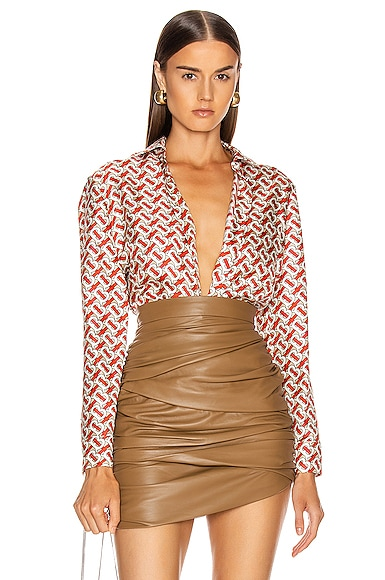 Burberry Red And Beige Silk Shirt With Monogram Print In Vermillion Red