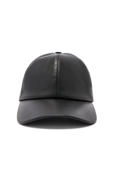 76c3ae66737 Buscemi Leather Baseball Cap in Black