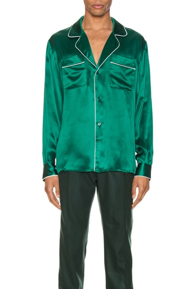 Casablanca T-shirts CASABLANCA DE SOIREE PAJAMA SHIRT IN GREEN