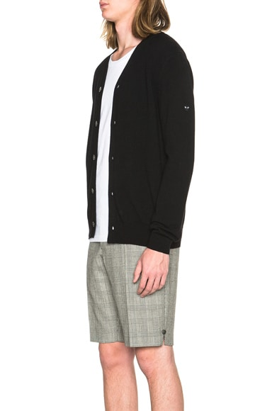 Lambswool Cardigan with Small Black Emblem Sleeve