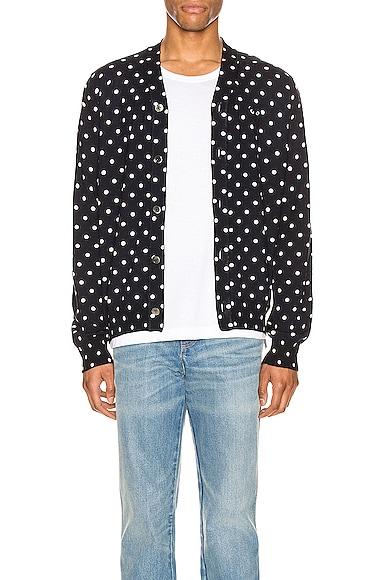 Dot Print Wool Cardigan with Black Emblem