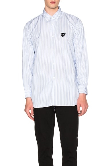 Broad Stripe Cotton Button Down