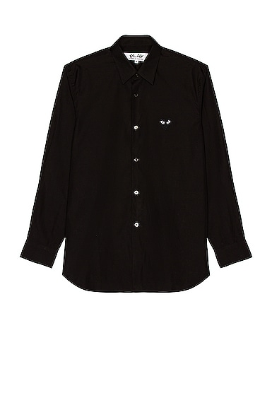 Black Emblem Cotton Button Down