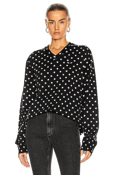 Wool Jersey Dot Print Black Emblem Sweater