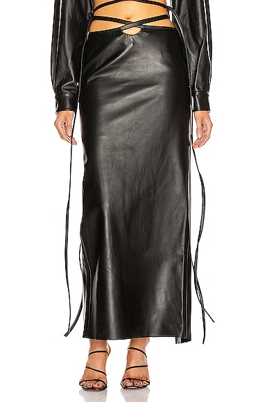 Leather Looped Tie Skirt