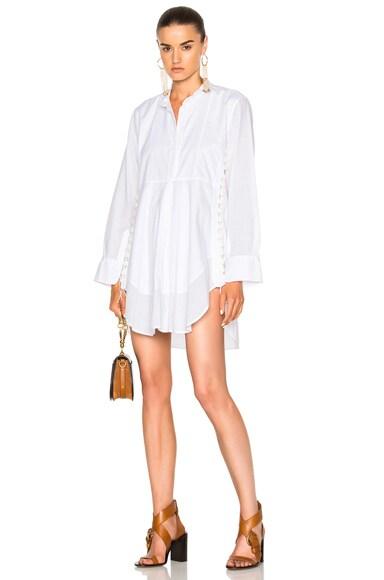 Light Cotton Voile Button Detail Shirt Dress
