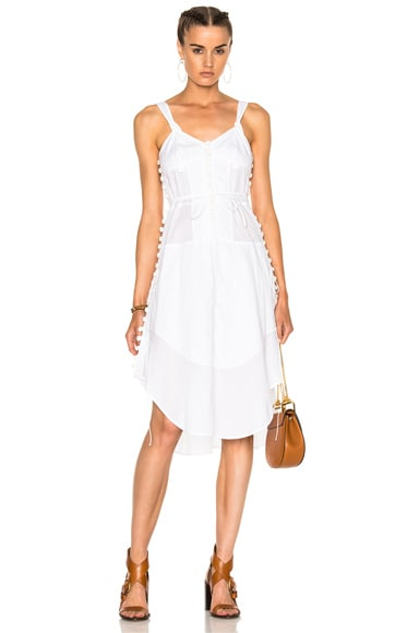 Light Cotton Voile Button Detail Sleeveless Dress