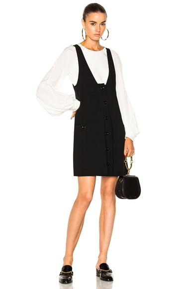 Wool Crepe Button Front Dress